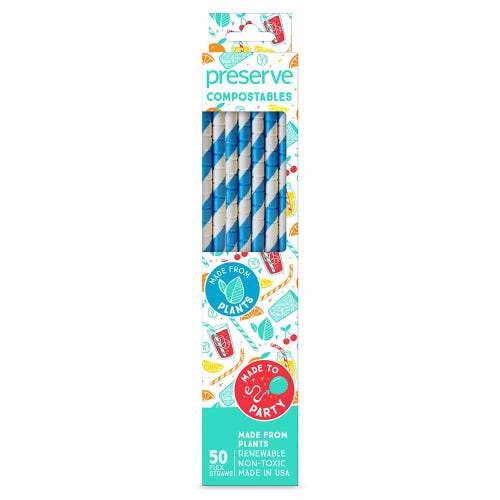 Preserve Compostable Straws - Blue (50 Pack)