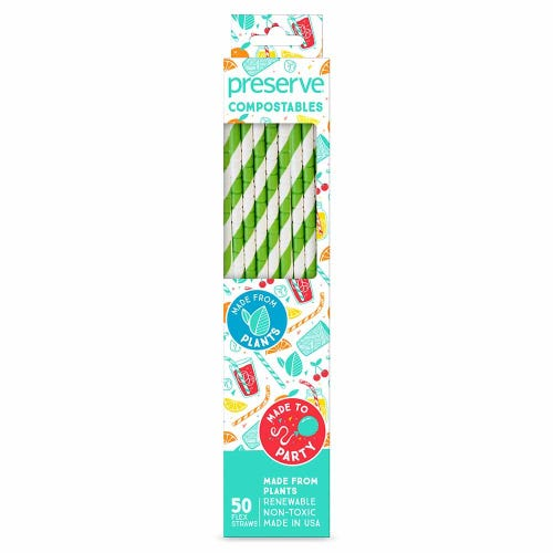 Preserve Compostable Straws - Green (50 Pack)