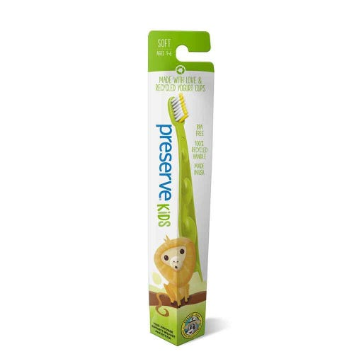 Preserve Recycled Kids Toothbrush Green Golden Lion Tamarin