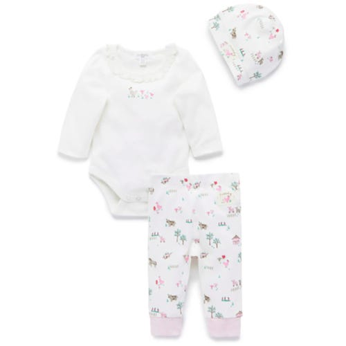 Purebaby 3 Piece Gift Pack - Pink Farm Yard