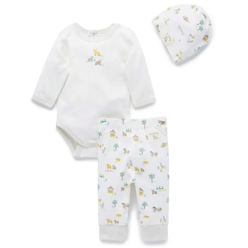 Purebaby 3 Piece Gift Pack - Yellow Farm Yard