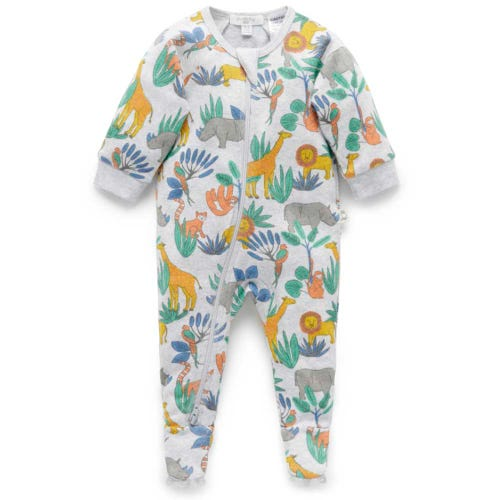 Purebaby Zip Longjohn - Jungle