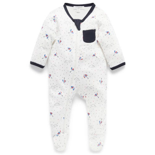 Purebaby Wrap Growsuit - Navy Storm