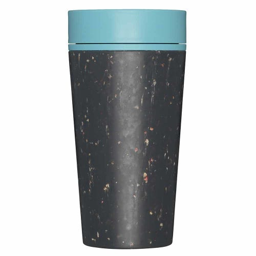 rCup Reusable Coffee Cup Black/ Teal 12oz