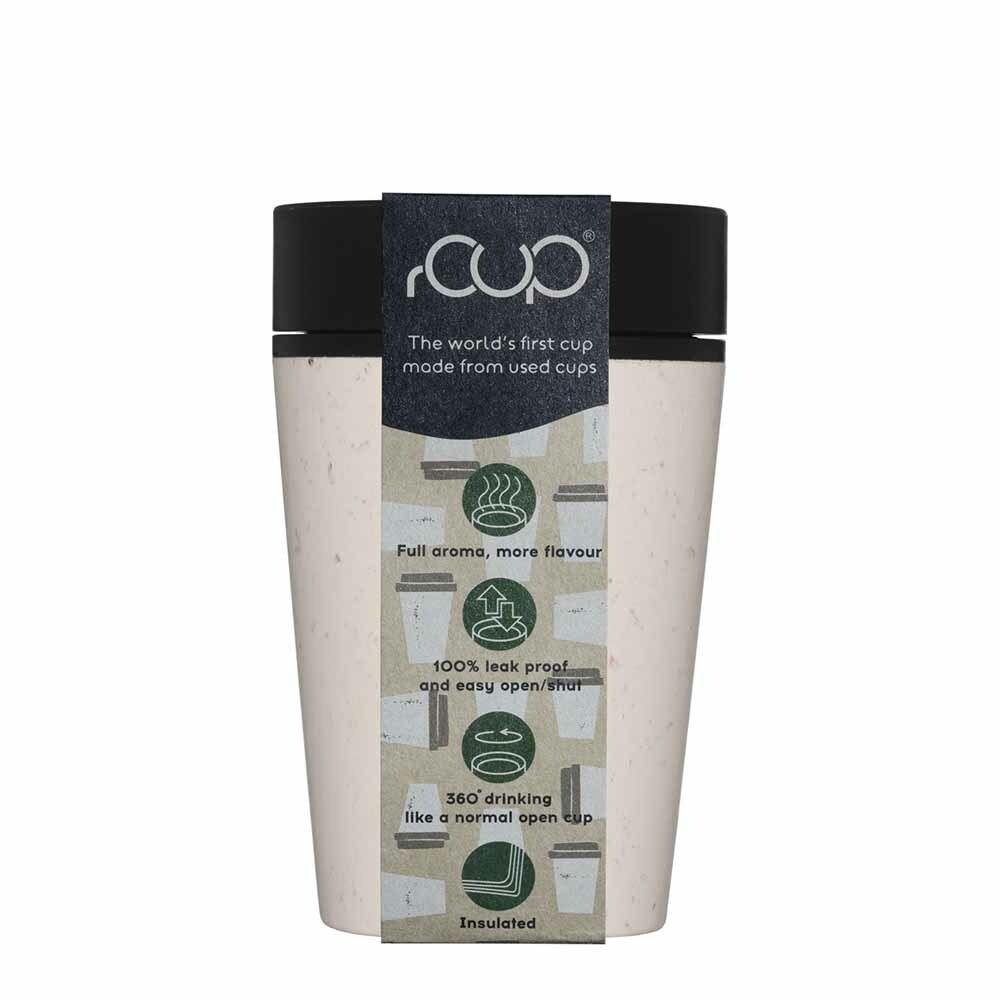 rCup Reusable Coffee Cup Cream/ Black 8oz