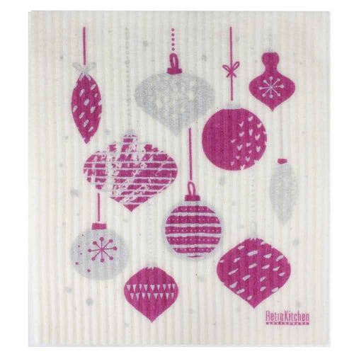 Retro Kitchen Biodegradable Dish Cloth Christmas Baubles (1 Cloth)