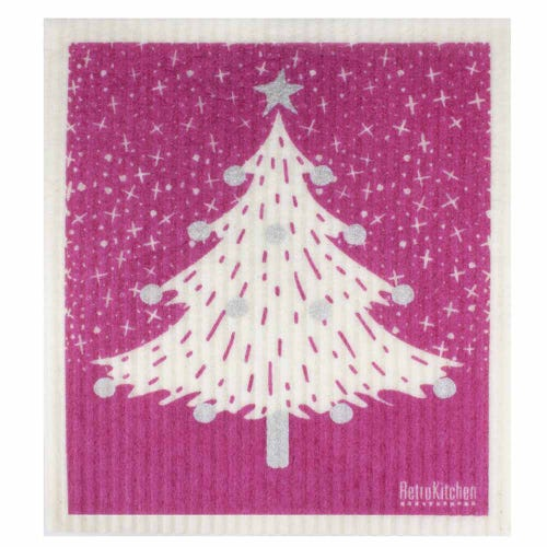 Retro Kitchen Biodegradable Dish Cloth Christmas Tree (1 Cloth)