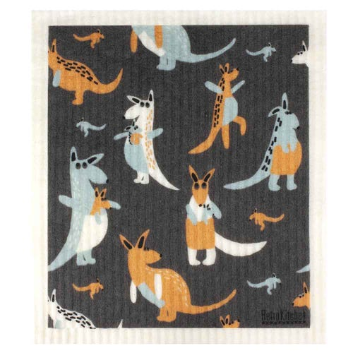 Retro Kitchen Biodegradable Dish Cloth Kangaroos (1 Cloth)