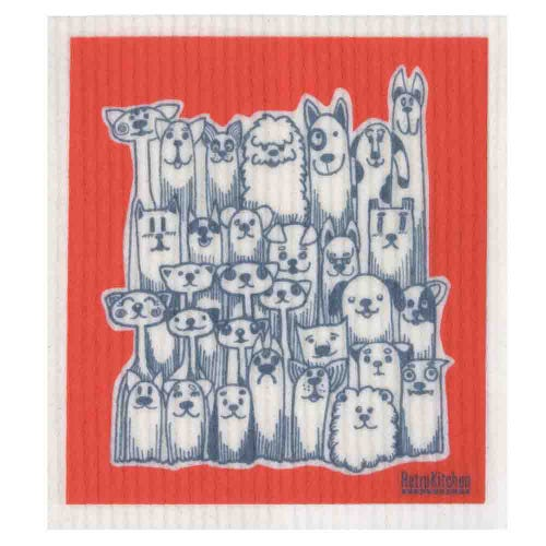 Retro Kitchen Biodegradable Dish Cloth Dogs & Cats (1 Cloth)