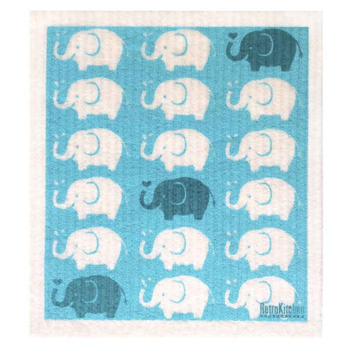 Retro Kitchen Biodegradable Dish Cloth Elephants (1 Cloth)