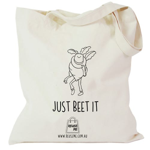 Canvas Shopping Bag Just Beet It