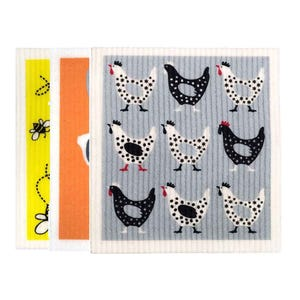 Retro Kitchen Biodegradable Dish Cloth 3 Pack