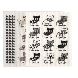 Retro Kitchen Biodegradable Dish Cloth 3 Pack Cats & Dogs