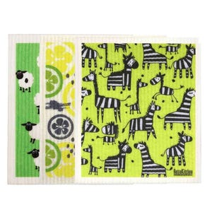 Retro Kitchen Biodegradable Dish Cloth 3 Pack Greens