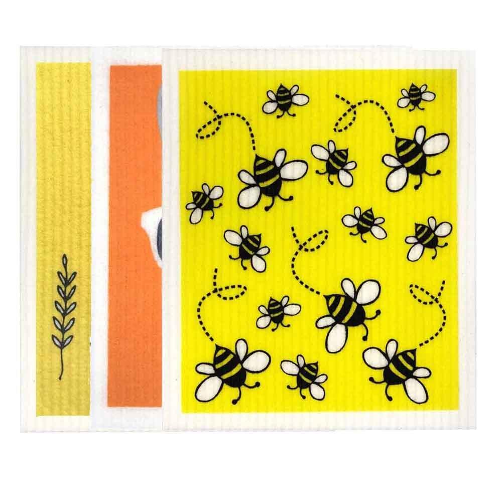 Retro Kitchen Biodegradable Dish Cloth 3 Pack Yellows & Orange