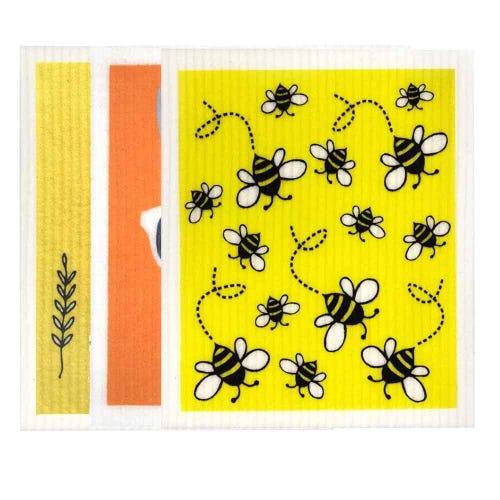 Retro Kitchen Biodegradable Dish Cloth 3 Pack Yellows & Orange