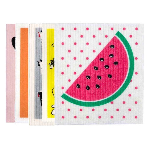 Retro Kitchen Biodegradable Dish Cloth 5 Pack