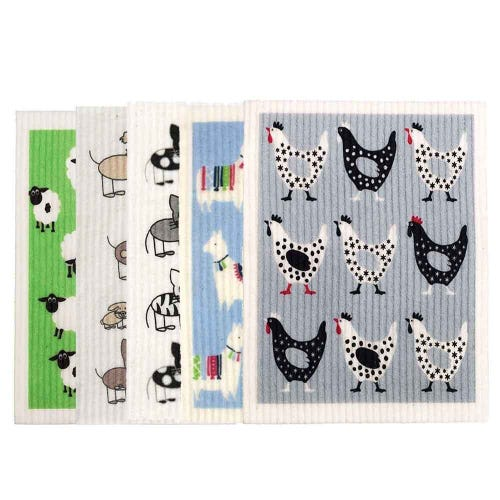 Retro Kitchen Biodegradable Dish Cloth 5 Pack Animal Groups