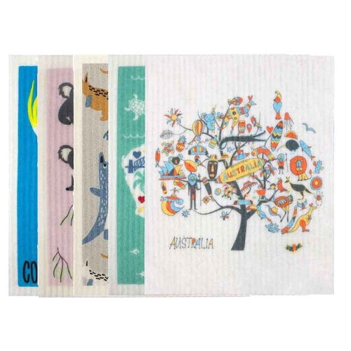 Retro Kitchen Biodegradable Dish Cloth 5 Pack Australia