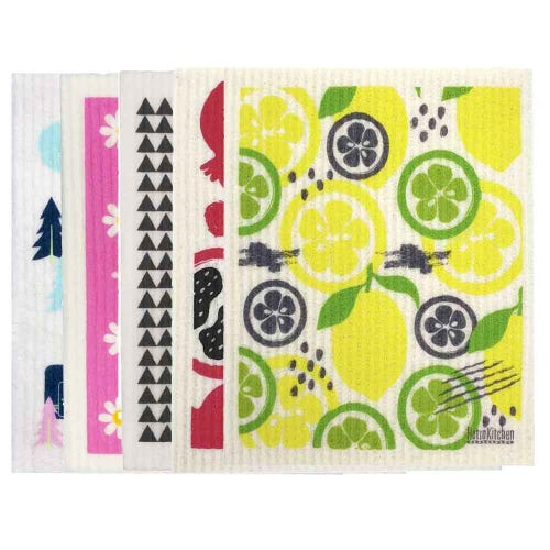 Retro Kitchen Biodegradable Dish Cloth 5 Pack Picnic