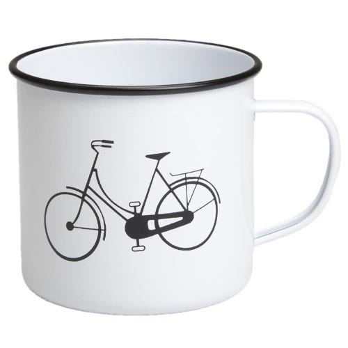 Retro Kitchen Enamel Mug - Bicycle
