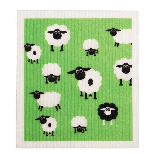 Retro Kitchen Biodegradable Dish Cloth Sheep (1 Cloth)