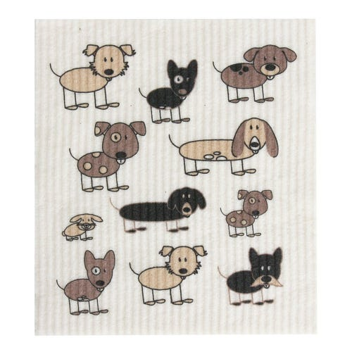 Retro Kitchen Biodegradable Dish Cloth Dogs (1 Cloth)