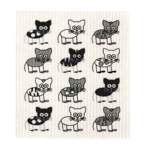 Retro Kitchen Biodegradable Dish Cloth Cats (1 Cloth)