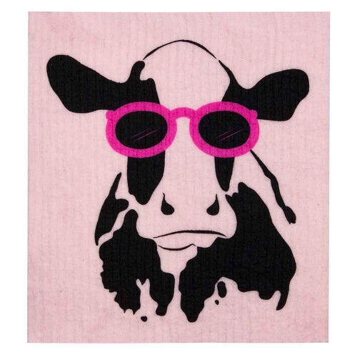 Retro Kitchen Biodegradable Dish Cloth Cow (1 Cloth)