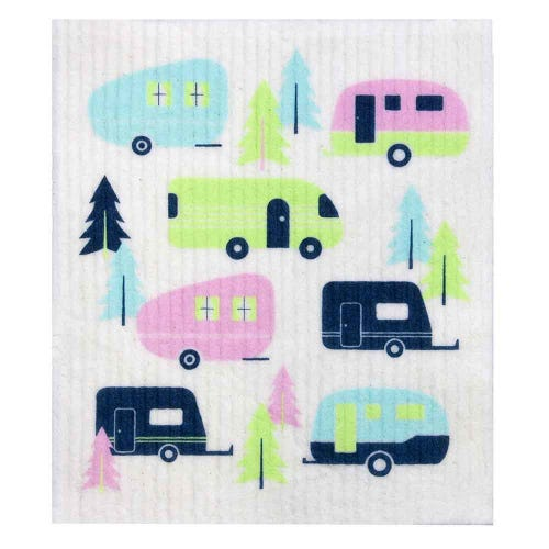 Retro Kitchen Biodegradable Dish Cloth Caravans (1 Cloth)