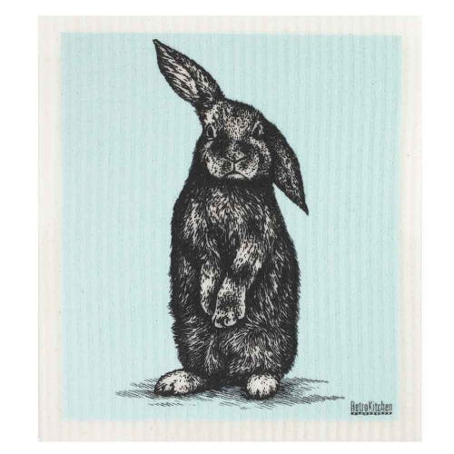 Retro Kitchen Biodegradable Dish Cloth Rabbit Sketch (1 Cloth)