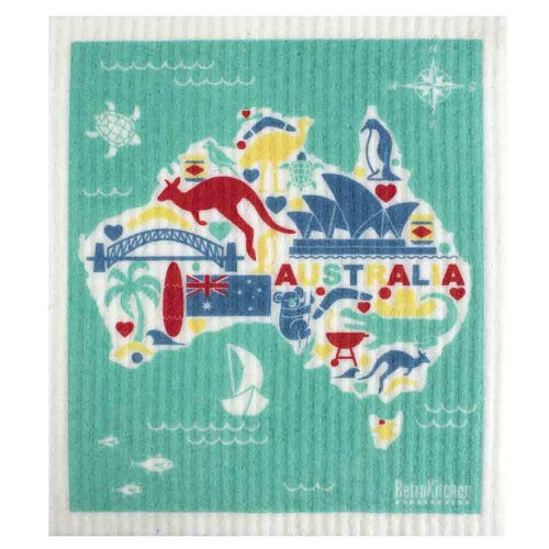 Retro Kitchen Biodegradable Dish Cloth Australia Map (1 Cloth)