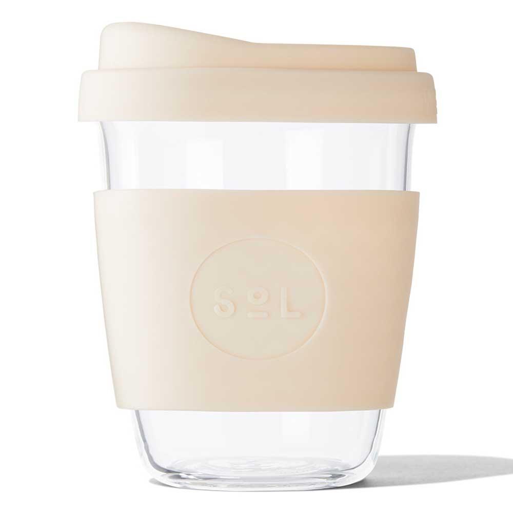 SoL Reusable Glass Cup Coastal Cream (12oz)