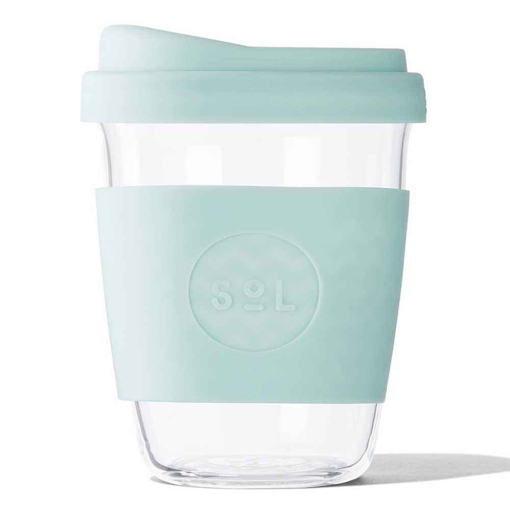 SoL Reusable Glass Cup Cool Cyan (12oz)
