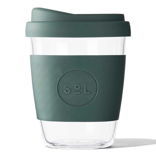 SoL Reusable Glass Cup Deep Sea Green (12oz)