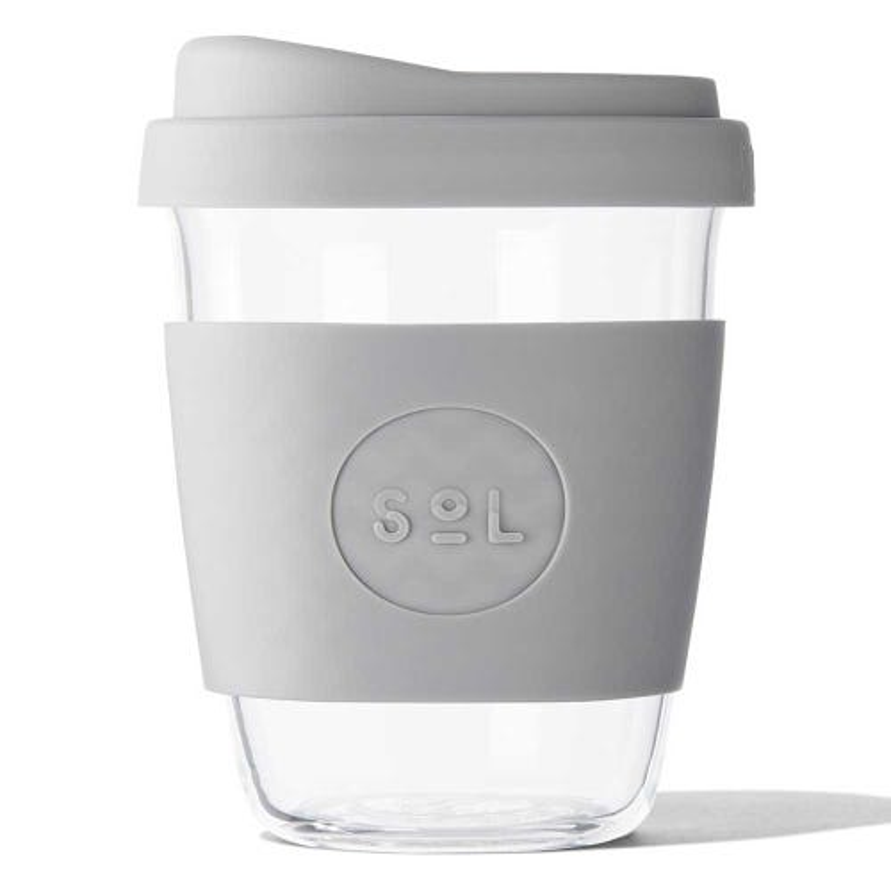 SoL Reusable Glass Cup Cool Grey (12oz)