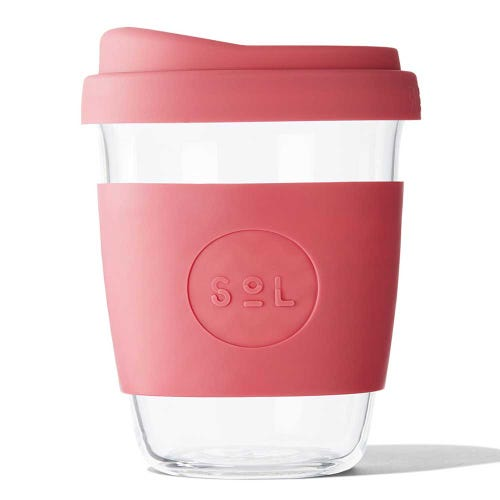 SoL Reusable Glass Cup Radiant Rose (12oz)