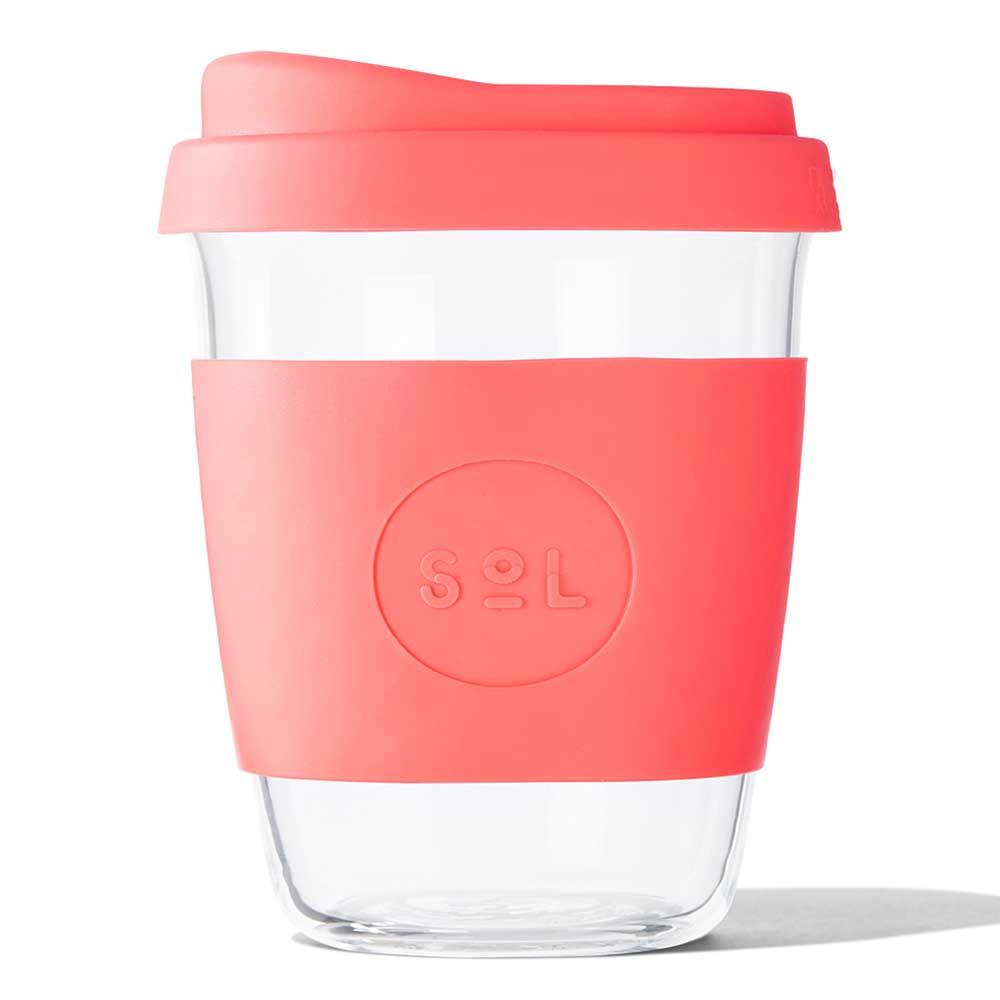 SoL Reusable Glass Cup Tropical Coral (12oz)
