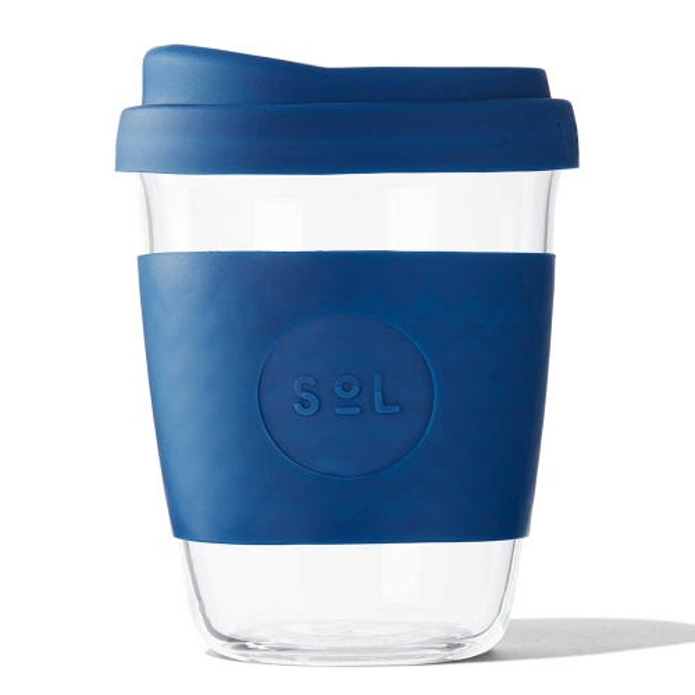 SoL Reusable Glass Cup Winter Bondi Blue (12oz)
