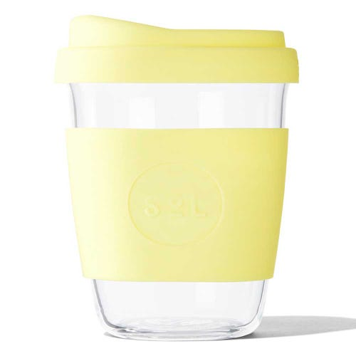 SoL Reusable Glass Cup Yummy Yellow (12oz)