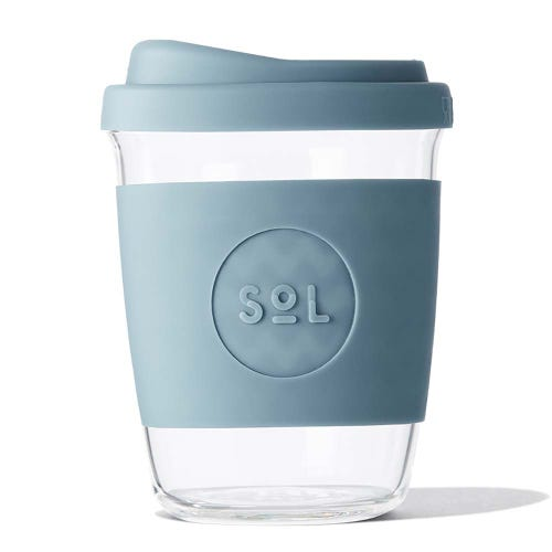 SoL Reusable Glass Cup Blue Stone (4oz)