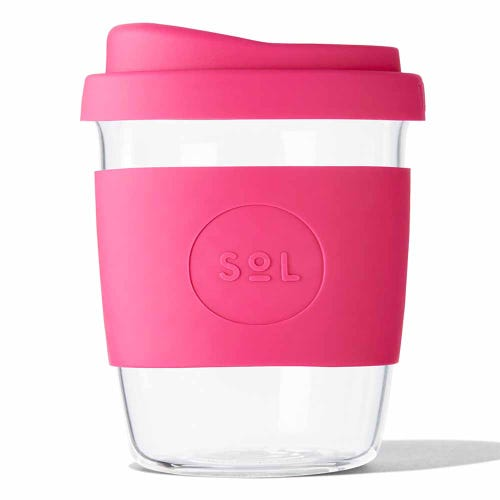 SoL Reusable Glass Cup Peacock Pink (8oz)