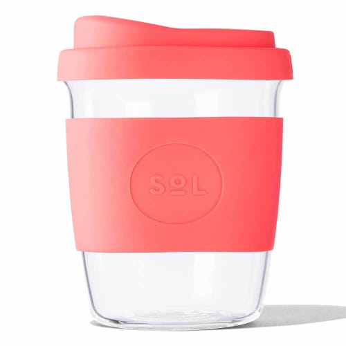 SoL Reusable Glass Cup Tropical Coral (8oz)