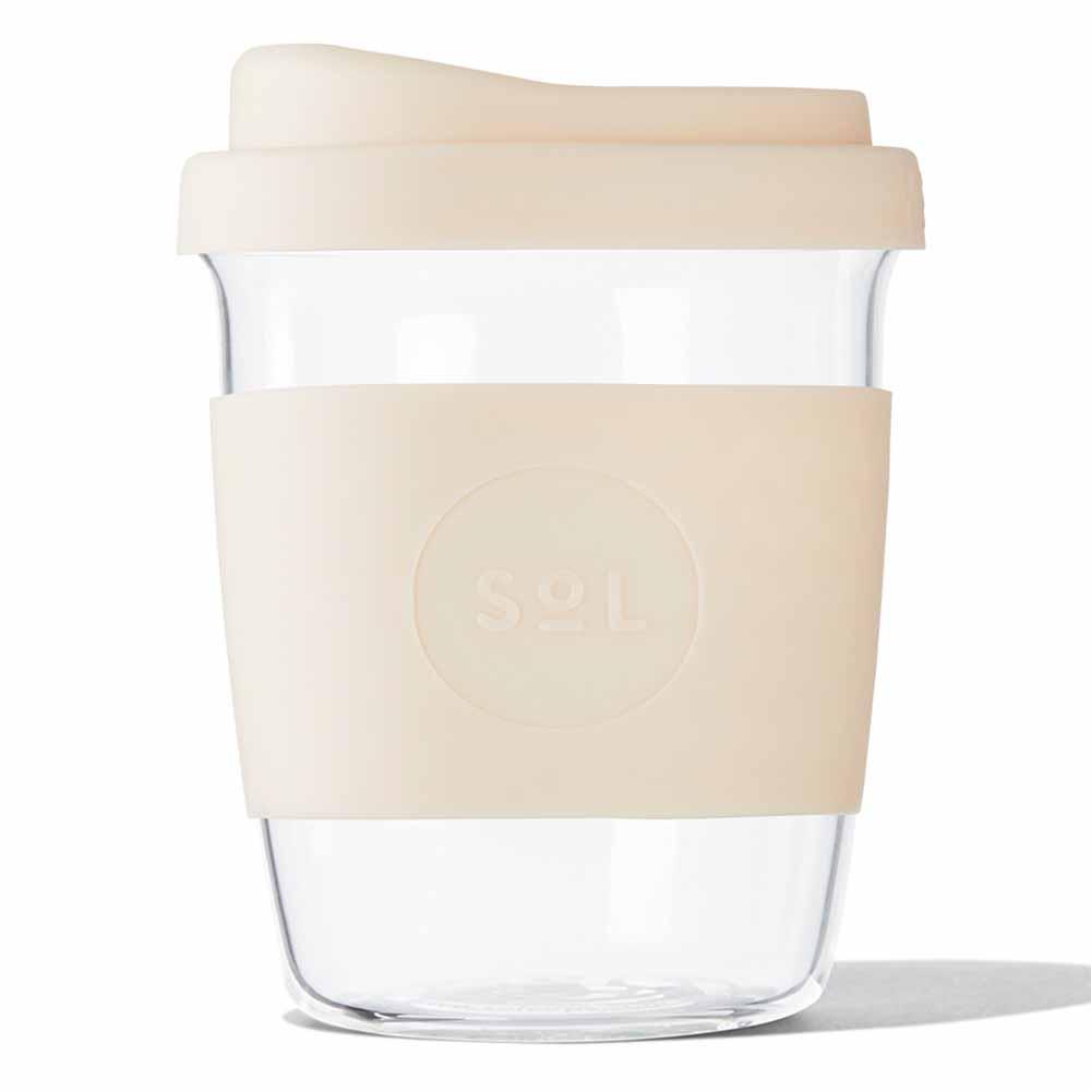 SoL Reusable Glass Cup Coastal Cream (8oz)