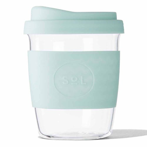 SoL Reusable Glass Cup Cool Cyan (8oz)