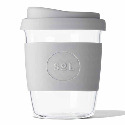 SoL Reusable Glass Cup Cool Grey (8oz)