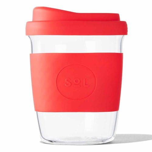 SoL Reusable Glass Cup Rocket Red (8oz)