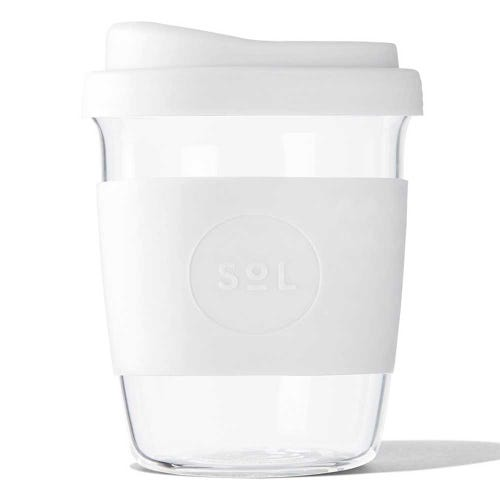 SoL Reusable Glass Cup White Wave (8oz)