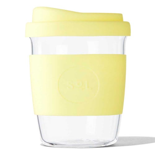 SoL Reusable Glass Cup Yummy Yellow (8oz)