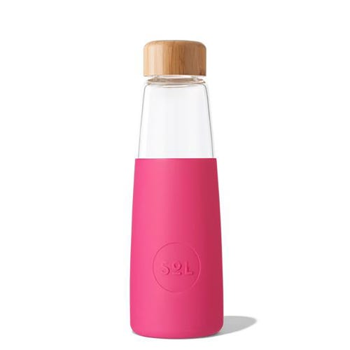 SoL Reusable Glass Bottle Peacock Pink (410ml)